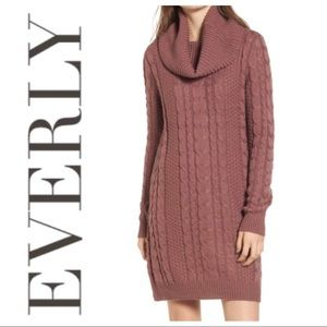 NEW EVERLY Textured Ribbed Cowl Neck Sweater DRESS